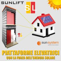 Ascensore a risparmio energetico: SunLift la piattaforma elevatrice fotovoltaica ad energia solare